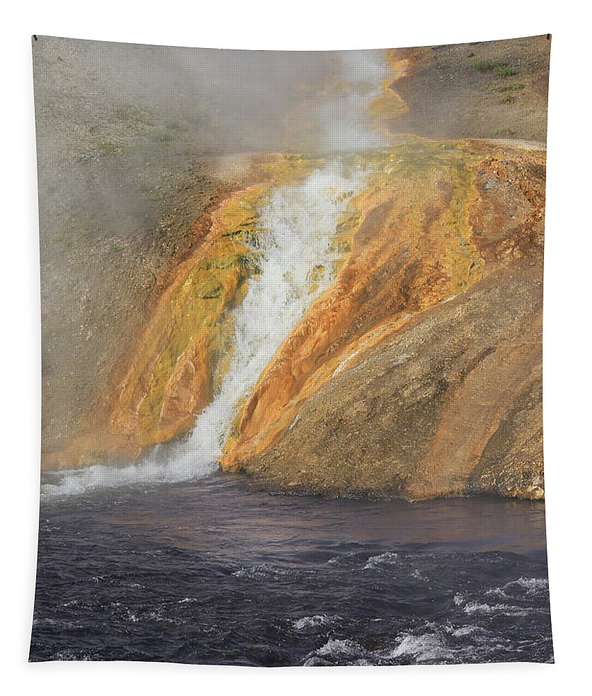 Outlet Of Midway Geyser Basin Tapestry featuring the photograph D09126 Outlet Of Midway Geyser Basin by Ed Cooper Photography