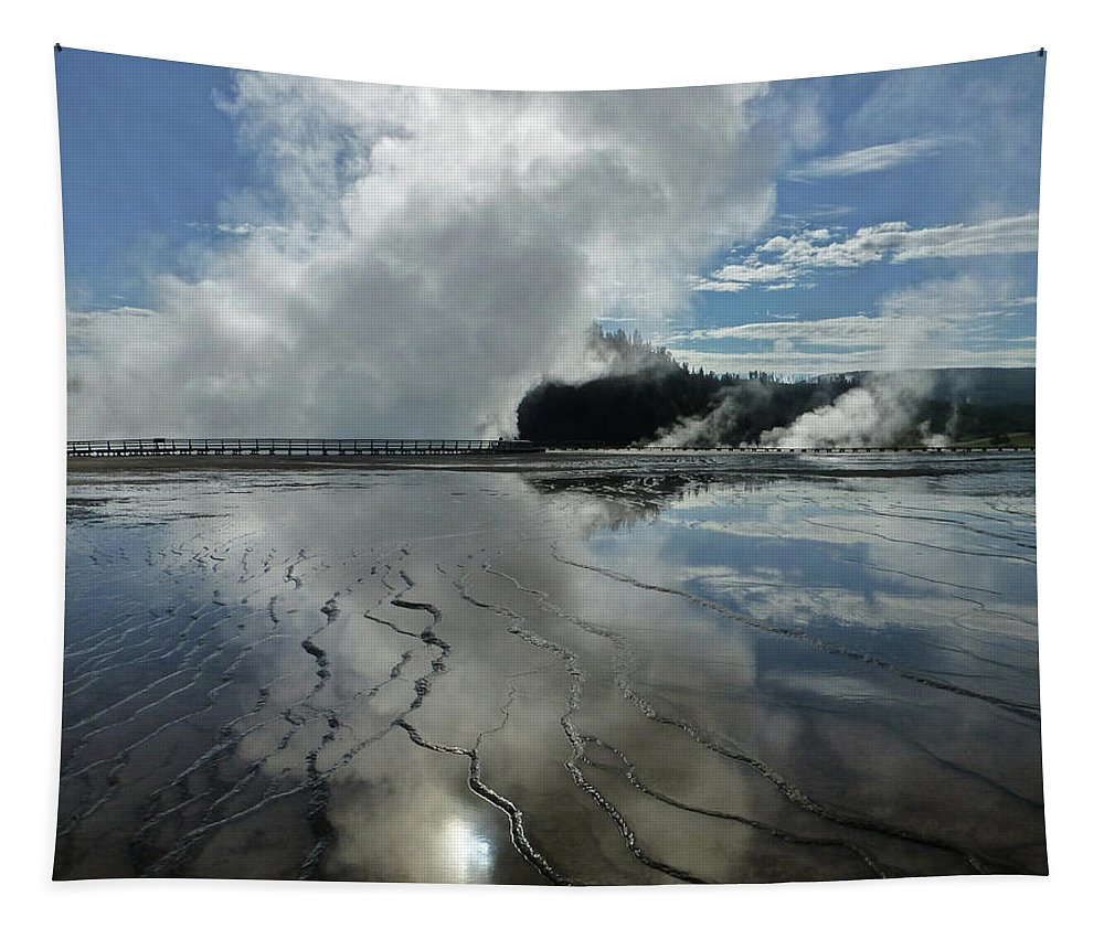 Clouds Tapestry featuring the photograph D09130-dc Cloud And Steam Reflect by Ed Cooper Photography