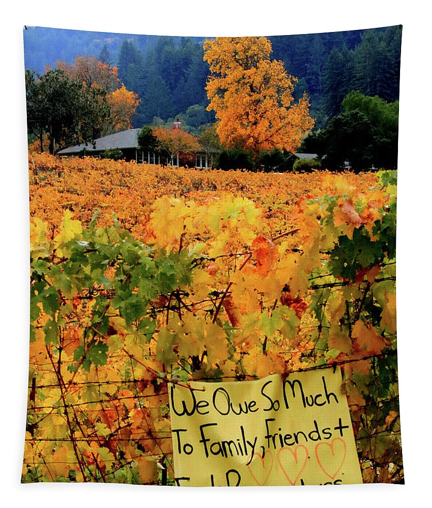 D8b6314 Tapestry featuring the photograph D8b6314 Autumn At Jack London Vinyard With Thanks To Firefighters Ca by Ed Cooper Photography