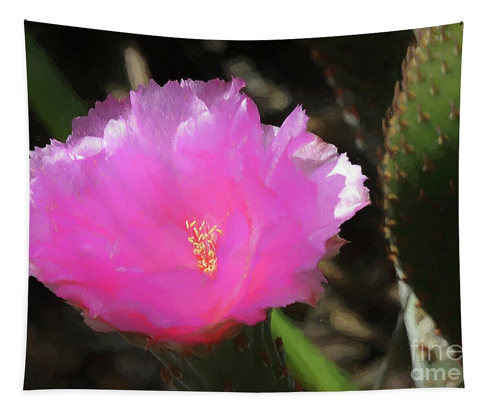 Paddle Cactus Tapestry featuring the digital art Dainty Pink Cactus Flower by Elisabeth Lucas