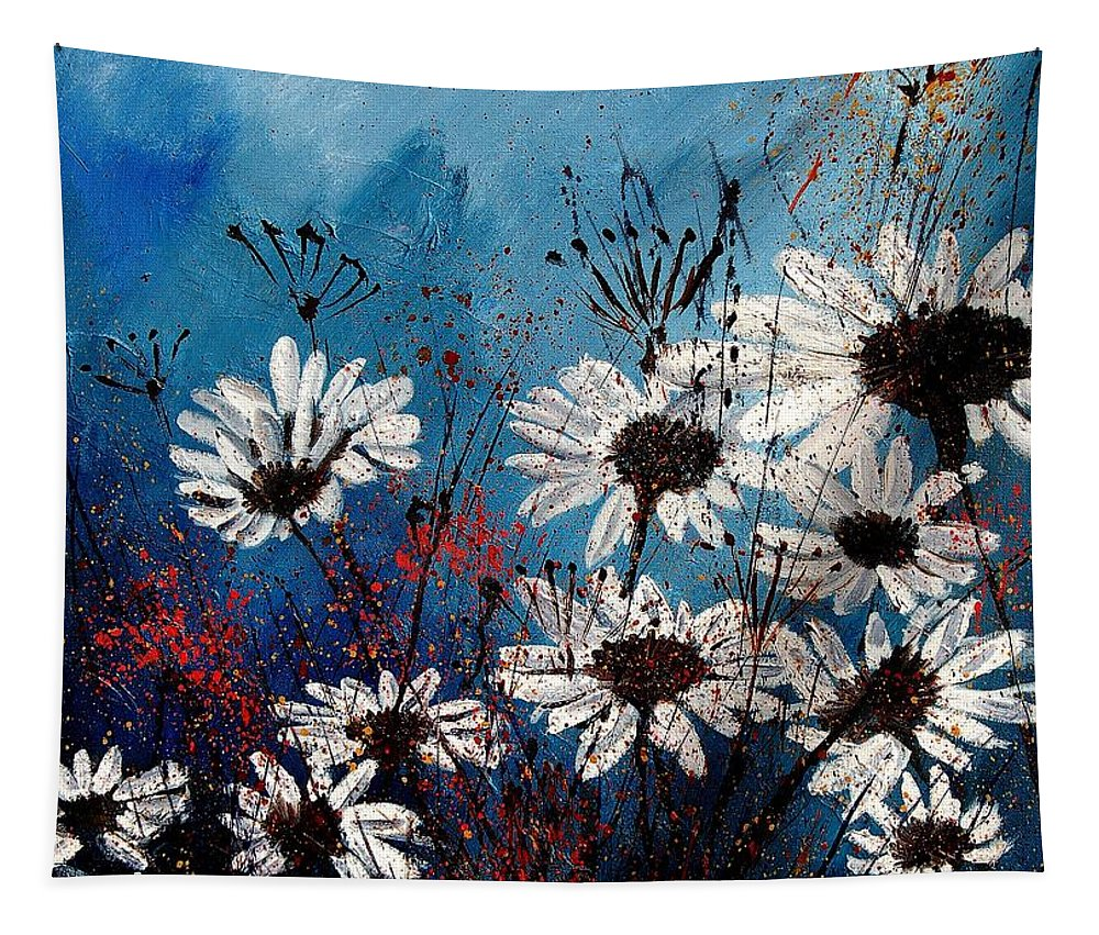 Flowers Tapestry featuring the painting Daisies 59060 by Pol Ledent