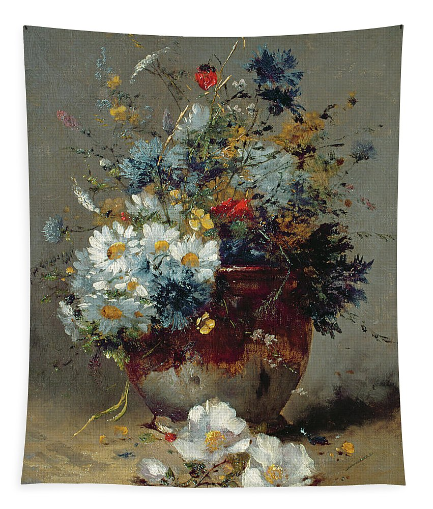 Vase Tapestry featuring the painting Daisies And Cornflowers by Eugene Henri Cauchois
