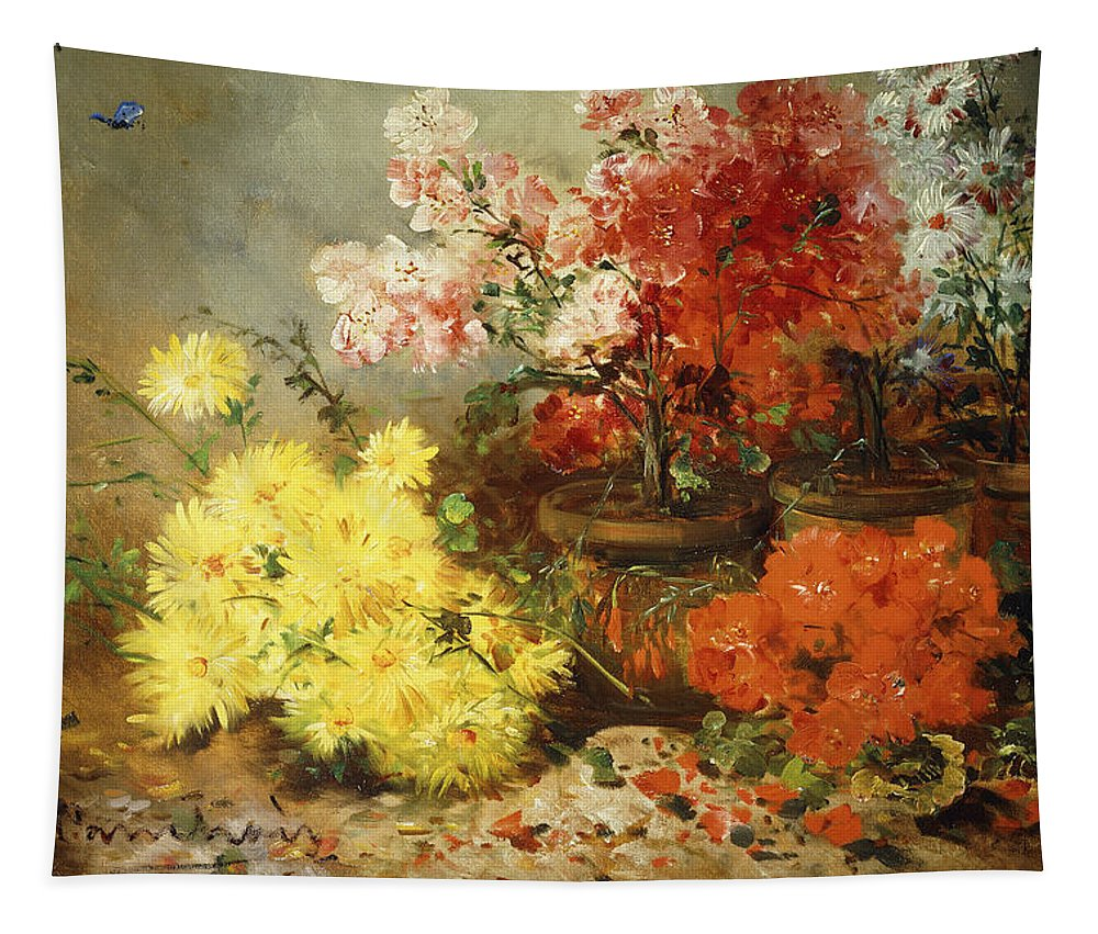 Daisy Tapestry featuring the painting Daisies, Begonia, And Other Flowers In Pots by Eugene Henri Cauchois