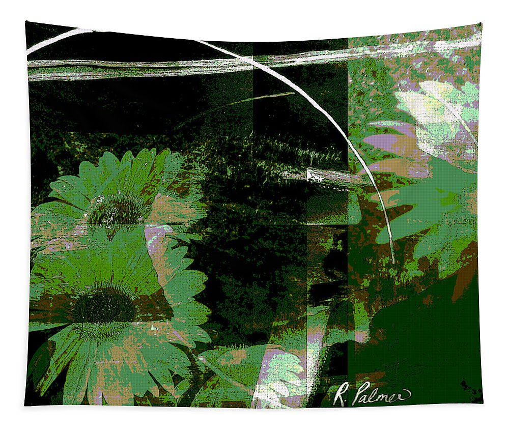 Abstract Tapestry featuring the mixed media Daisy Chain by Ruth Palmer