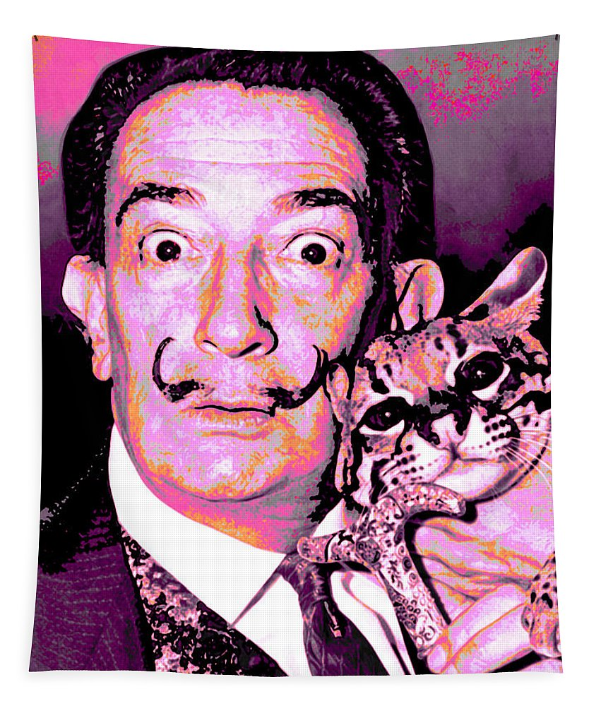 Dali Tapestry featuring the digital art Dali With Ocelot And Cane by Joy McKenzie