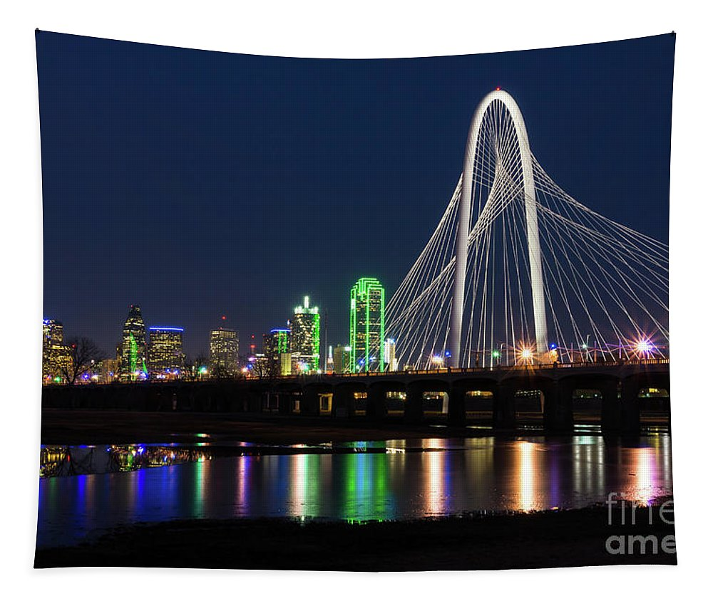 America Tapestry featuring the photograph Dallas Bridge View by Jennifer White