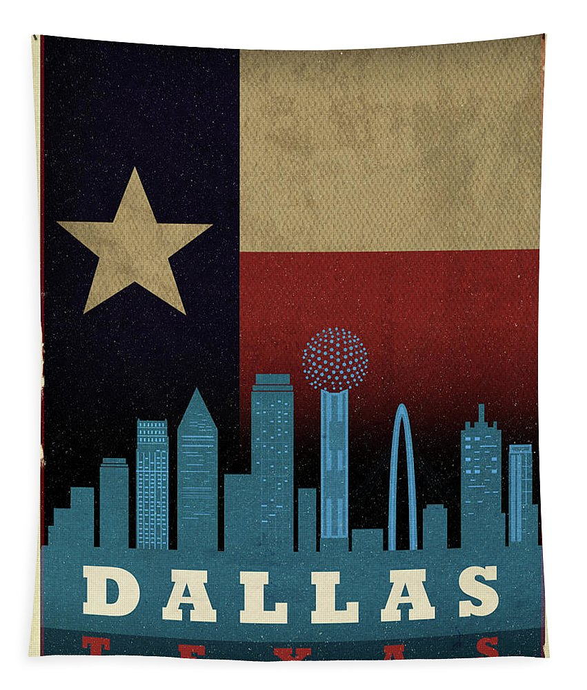 Dallas Tapestry featuring the mixed media Dallas City Skyline State Flag Of Texas Art Poster Series 020 by Design Turnpike