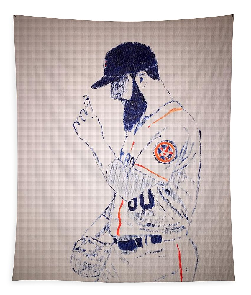 Cy Young Tapestry featuring the painting Dallas Keuchel Give Thanks by Jack Bunds