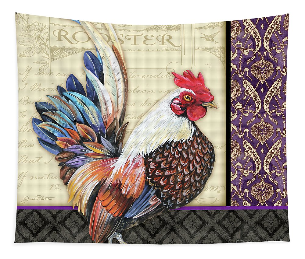 Rooster Tapestry featuring the painting Damask Rooster-c by Jean Plout