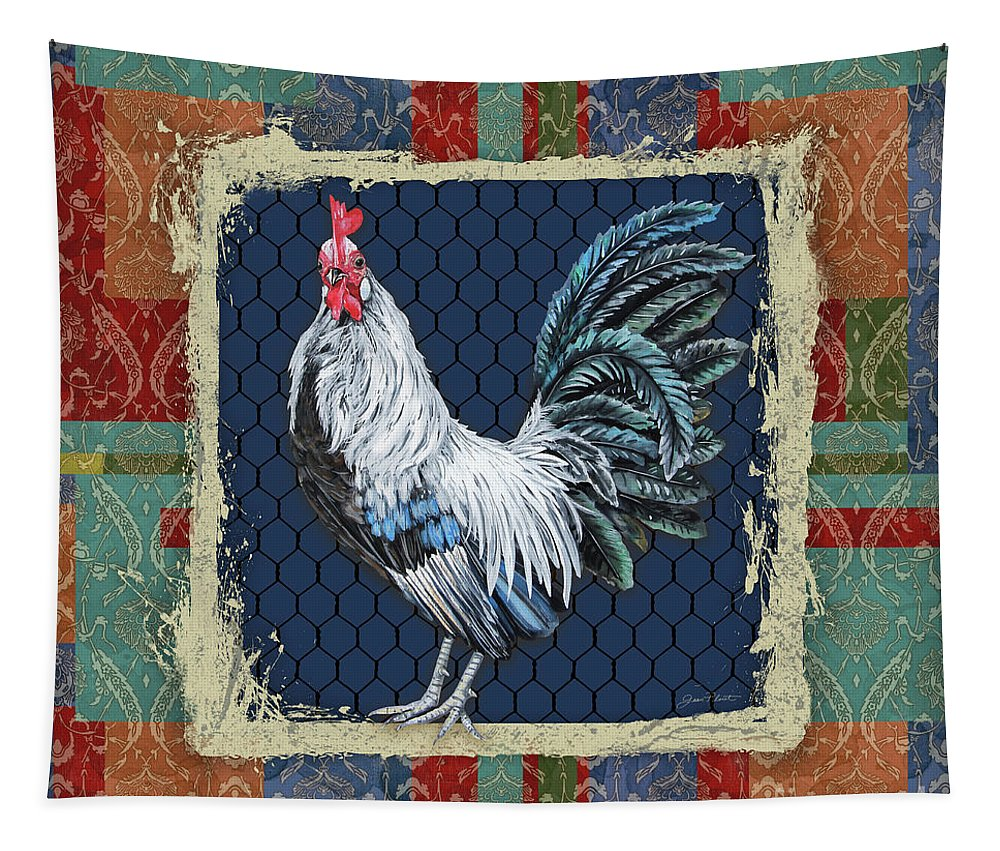 Rooster Tapestry featuring the painting Damask Rooster-q by Jean Plout
