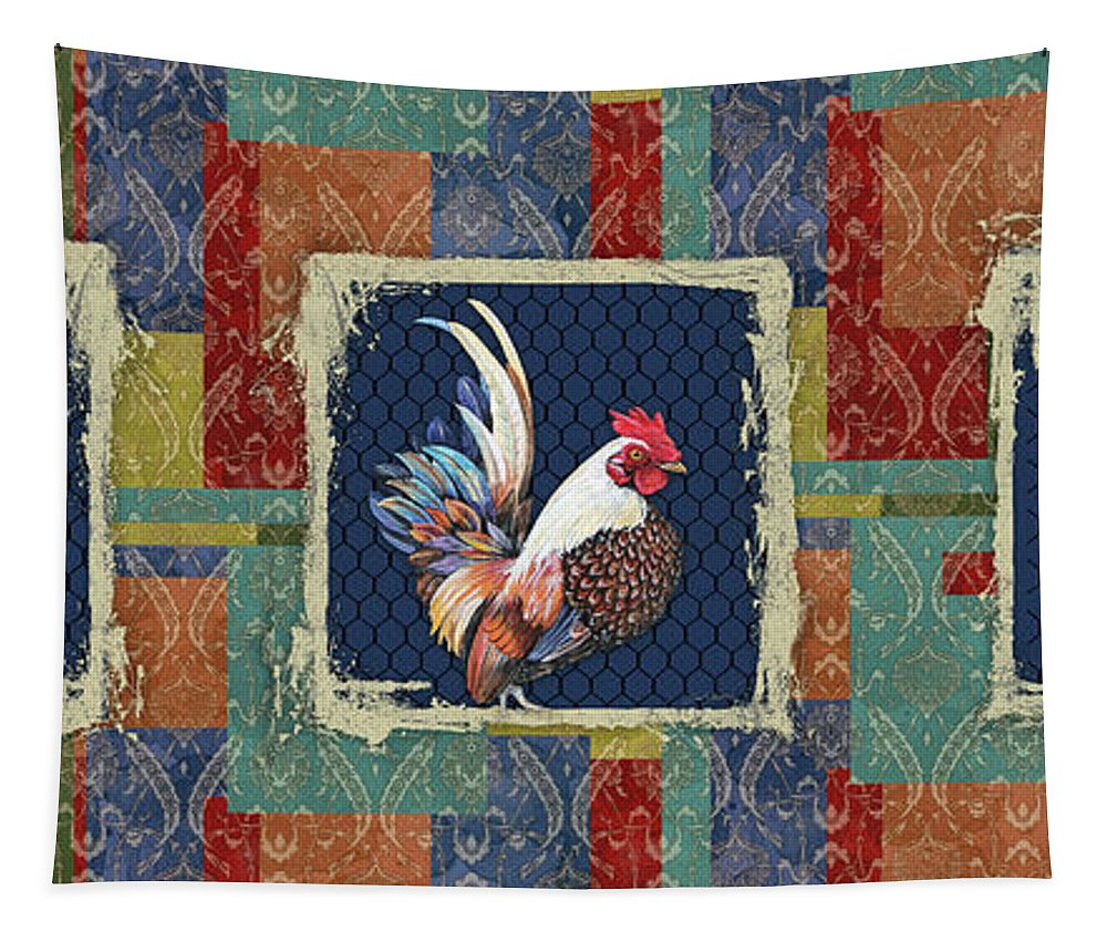 Rooster Tapestry featuring the painting Damask Rooster-r by Jean Plout