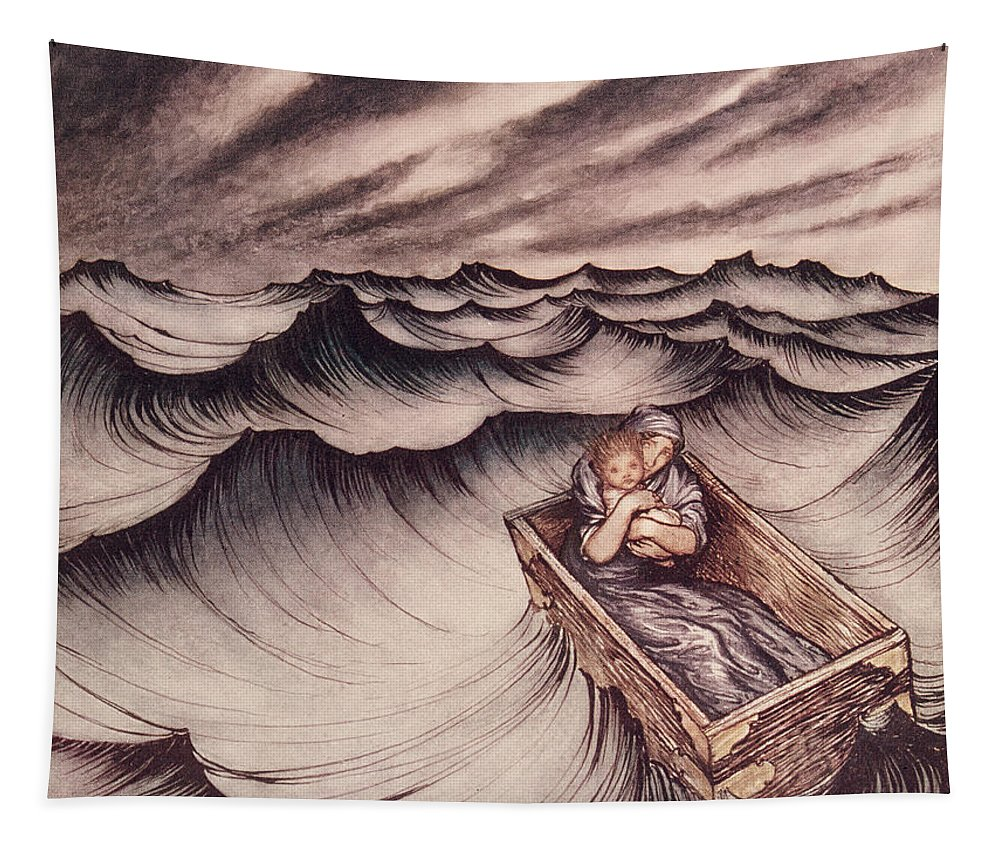 Arthur Rackham Tapestry featuring the drawing Danae And Her Son Perseus Put In A Chest And Cast Into The Sea by Arthur Rackham