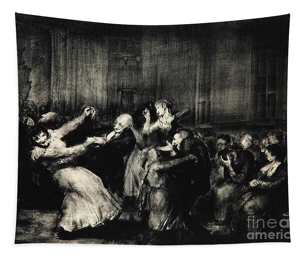 Dance In A Madhouse Tapestry featuring the drawing Dance In A Madhouse by George Wesley Bellows