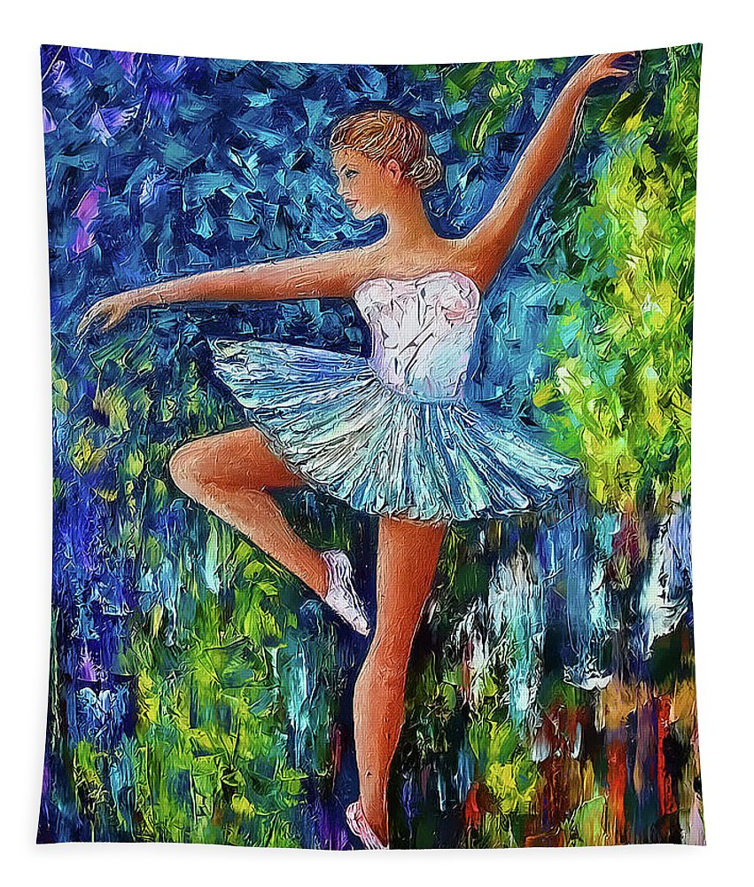 Olena Art Tapestry featuring the digital art Dance In The Rain Of Color by OLena Art Brand