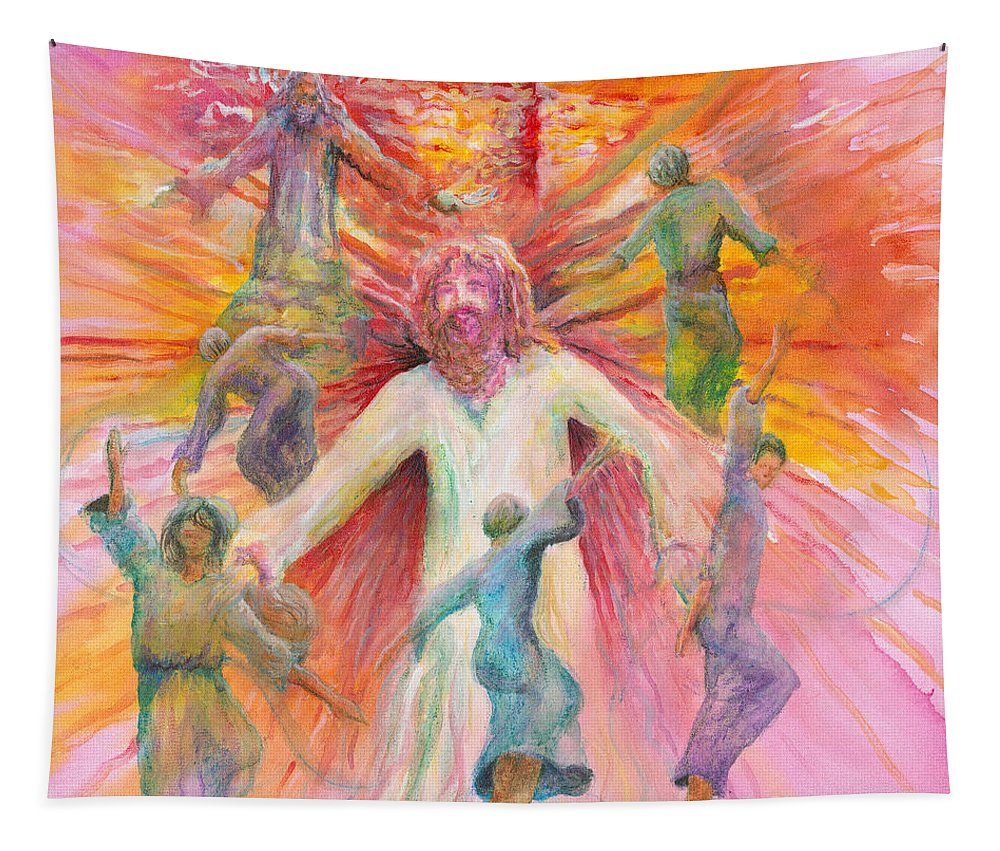 Jesus Tapestry featuring the painting Dance of Freedom by Nadine Rippelmeyer