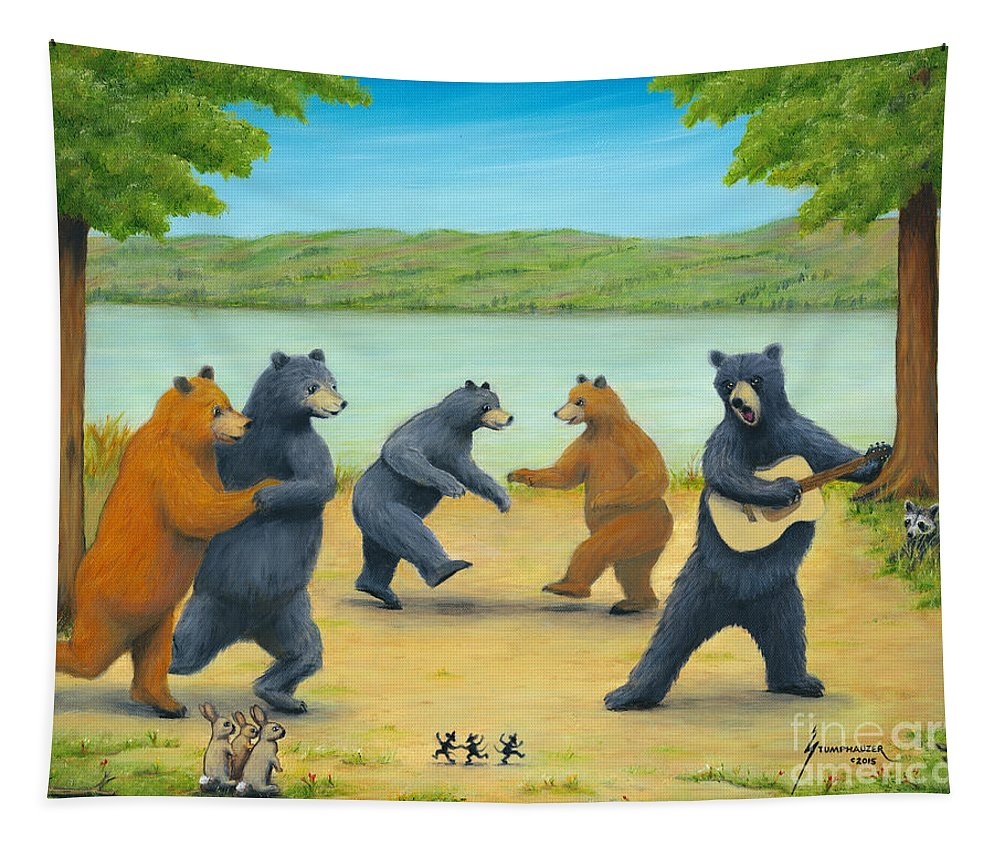 Bears Tapestry featuring the painting Dancing Bears by Jerome Stumphauzer