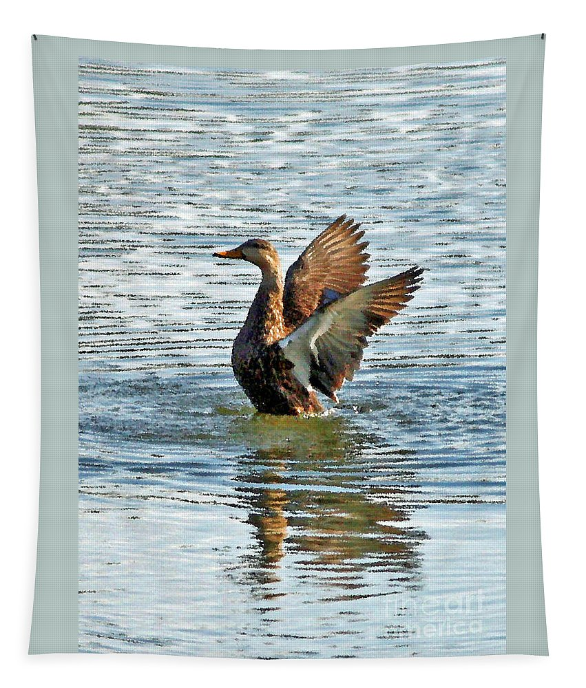 Mottled Teal Tapestry featuring the photograph Dancing Duck by Carol Groenen