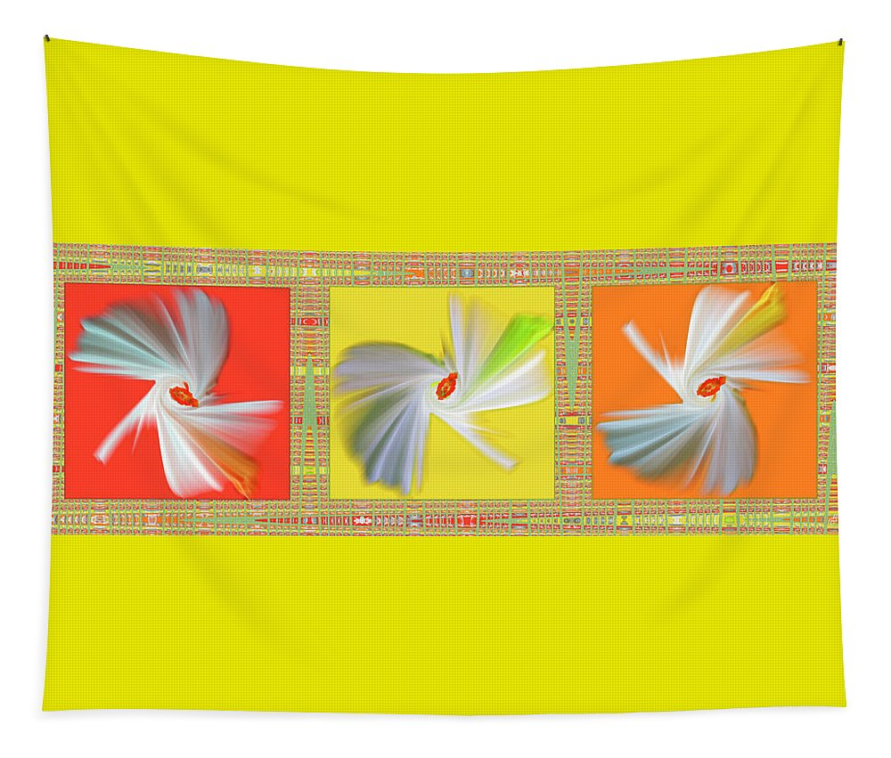 Floral Abstract Tapestry featuring the digital art Dancing Flower Trio by Ben and Raisa Gertsberg