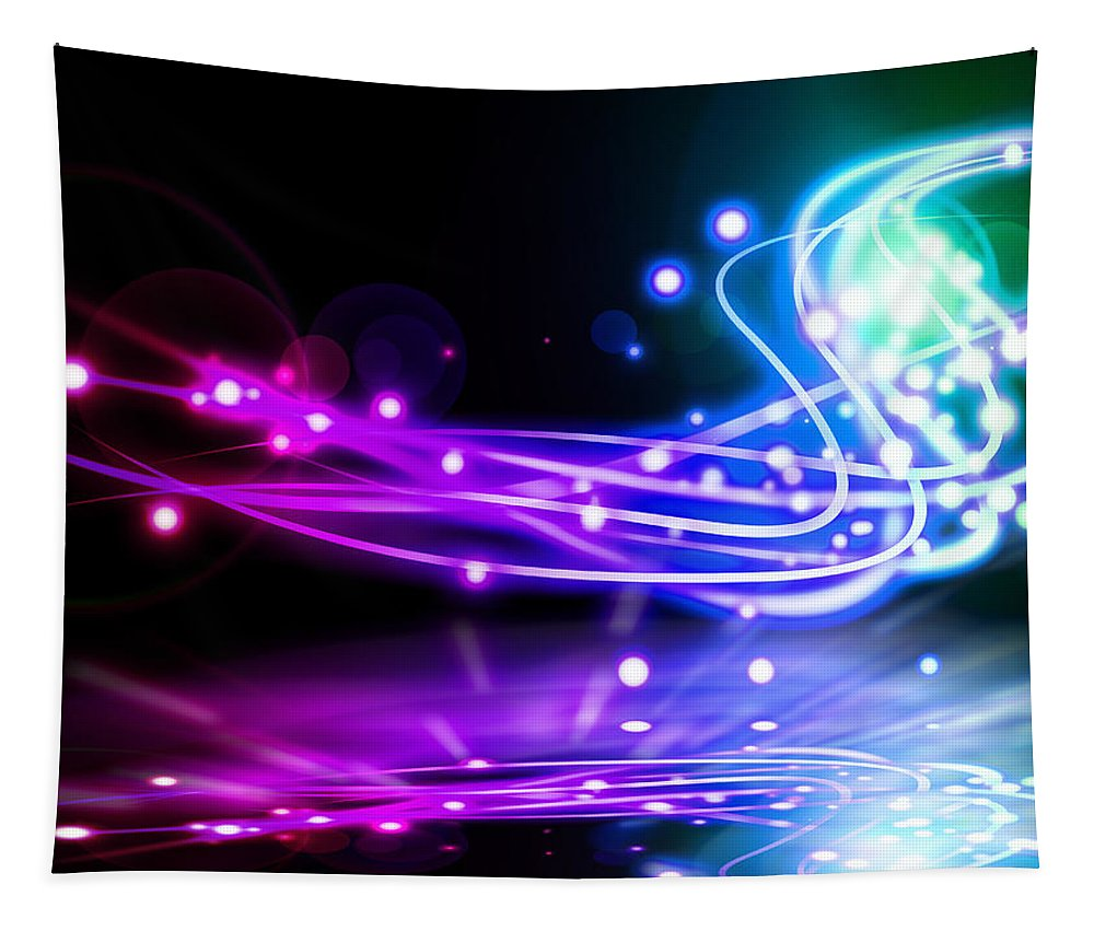 Abstract Tapestry featuring the photograph Dancing Lights by Setsiri Silapasuwanchai
