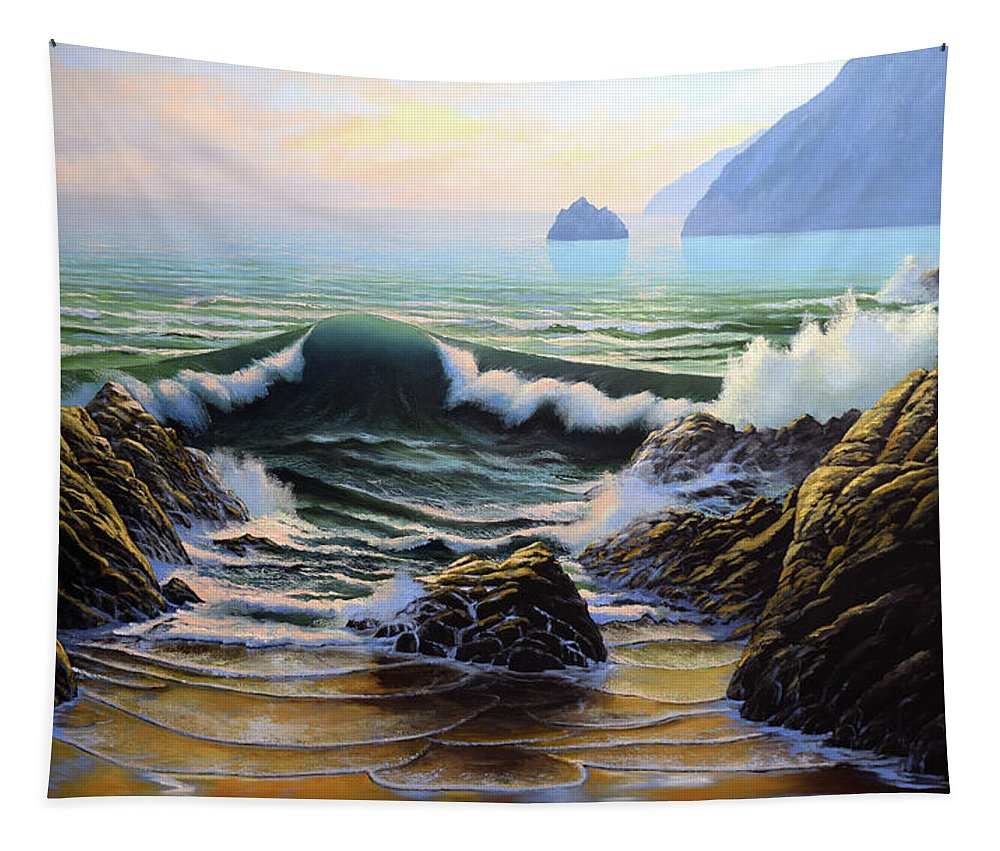 Dancing Tide Tapestry featuring the painting Dancing Tide by Frank Wilson