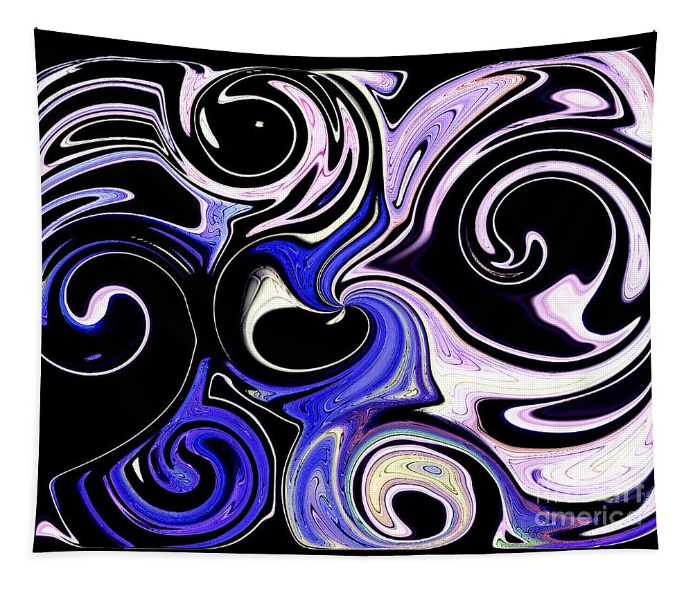 Blue Tapestry featuring the digital art Dancing With The Swans Abstract by Debra Lynch