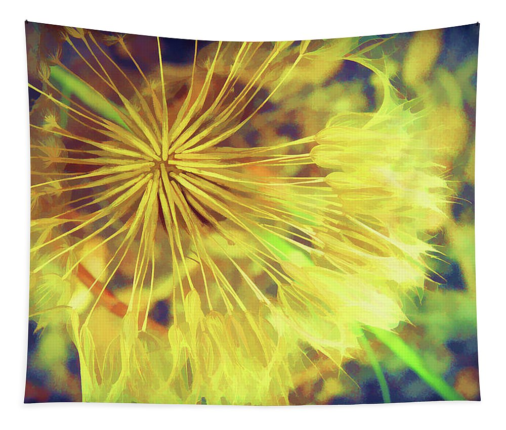 Dandelion Tapestry featuring the mixed media Dandelion Harvest by Terry Davis