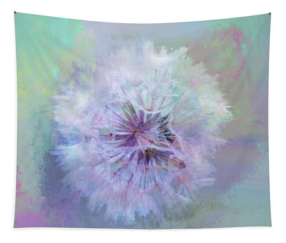 Dandelion Tapestry featuring the mixed media Dandelion In Pastel by Terry Davis