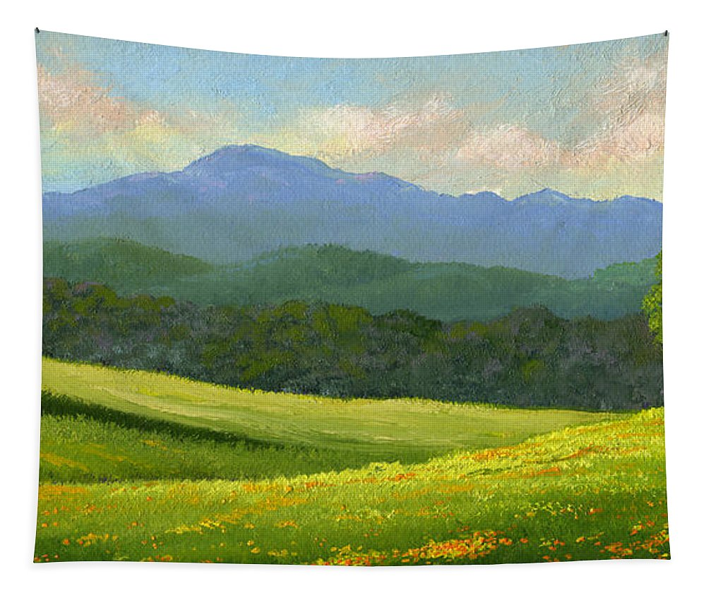 Landscape Tapestry featuring the painting Dandelion Meadows by Frank Wilson