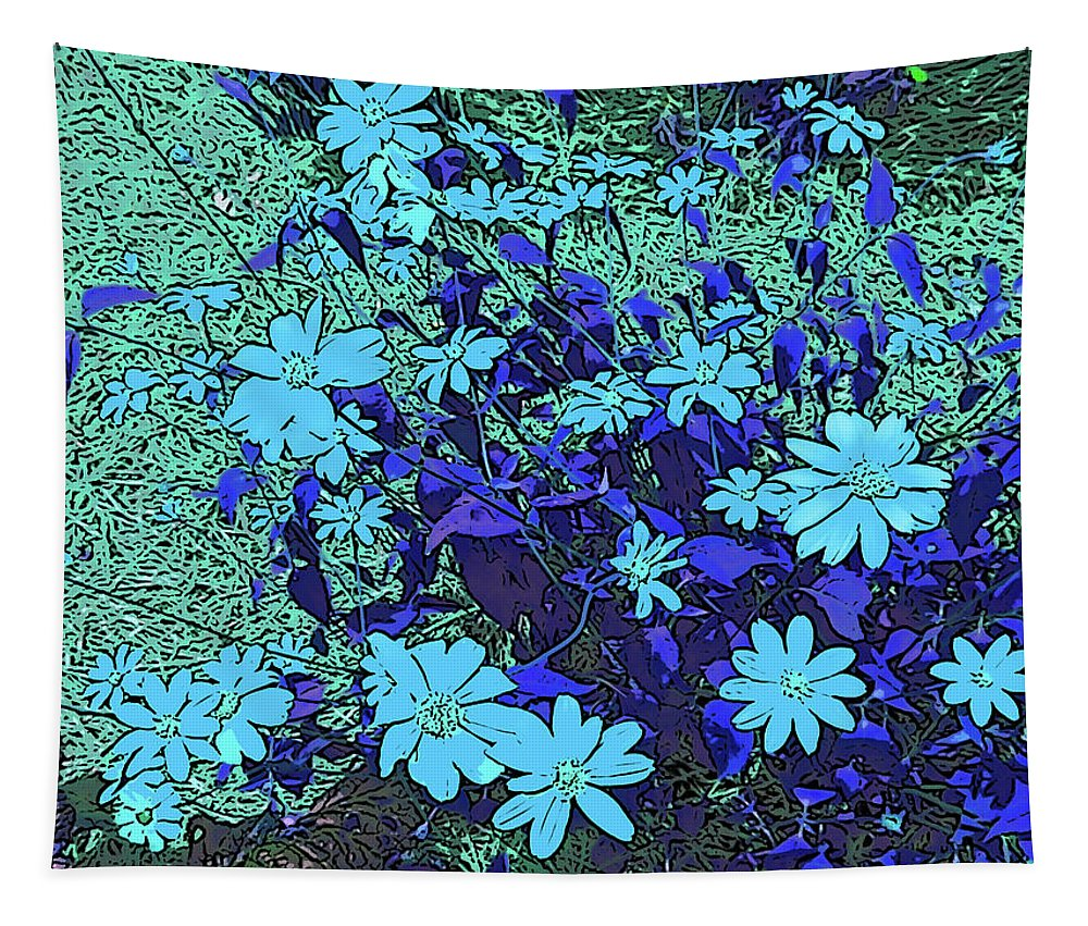 Photography Tapestry featuring the digital art Dandy Digital Daisies In Blue by Marian Bell