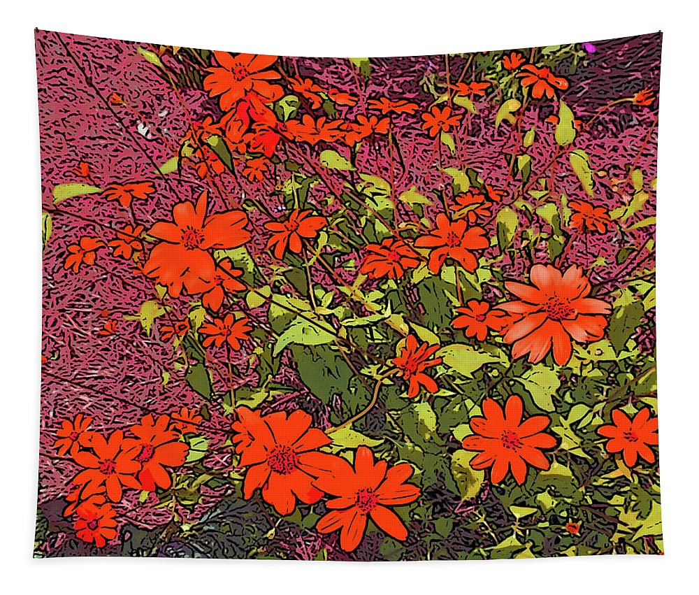 Photography Tapestry featuring the digital art Dandy Digital Daisies In Red by Marian Bell