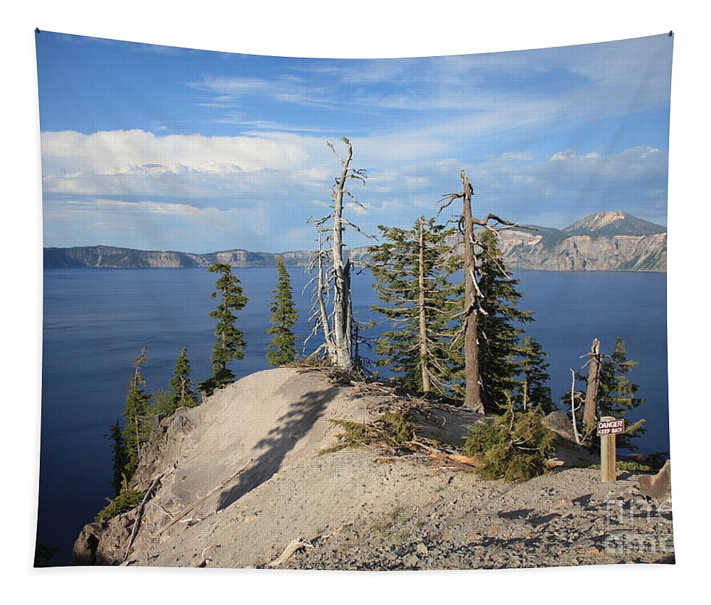 Crater Lake Tapestry featuring the photograph Dangerous Slope At Crater Lake by Carol Groenen