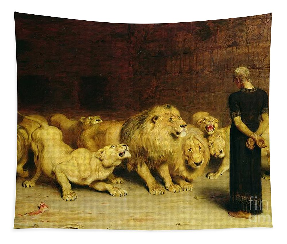 Daniel In The Lions' Den Tapestry featuring the painting Daniel in the Lions Den by Briton Riviere