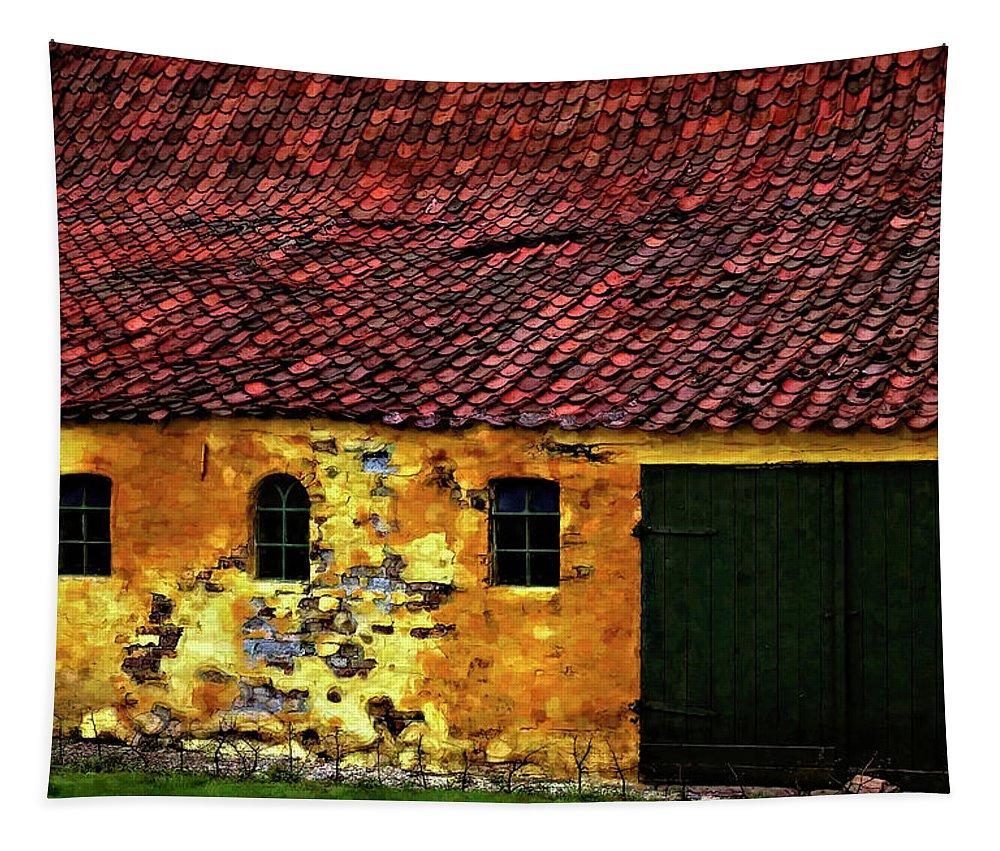 Barn Tapestry featuring the photograph Danish Barn Watercolor Version by Steve Harrington