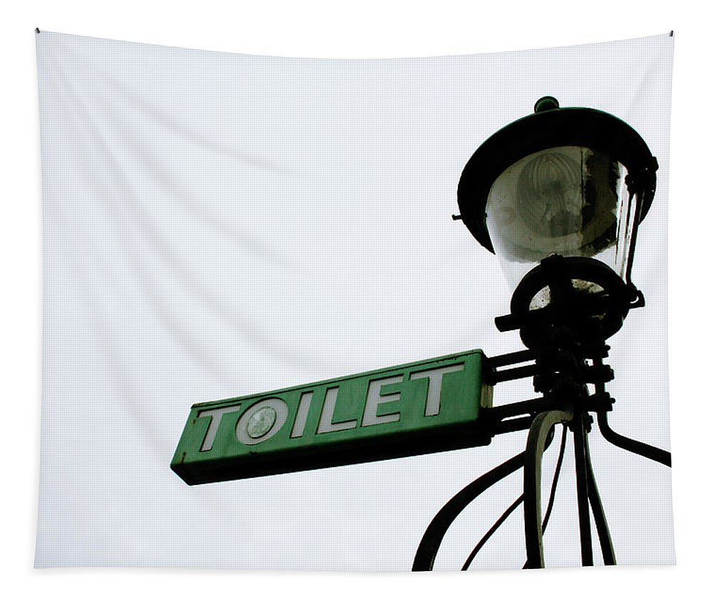Toilet Tapestry featuring the photograph Danish Toilet Sign by Linda Woods