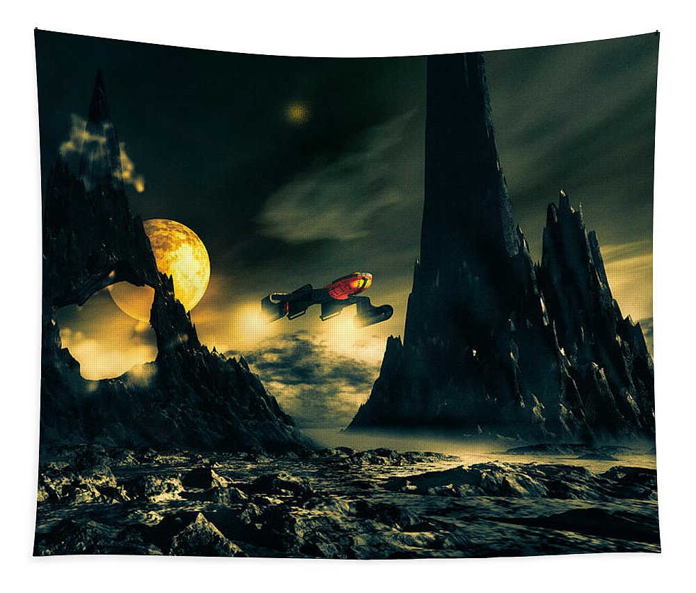 Science Fiction Tapestry featuring the mixed media Dark Planet by Bob Orsillo