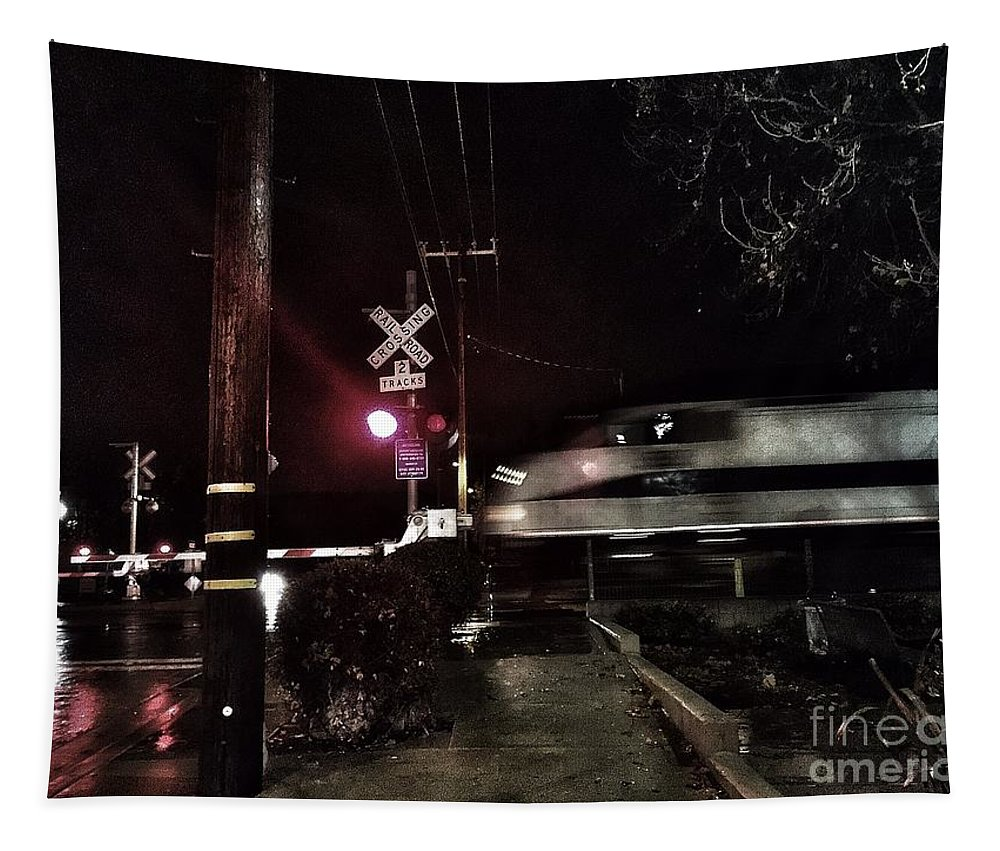 Train Tapestry featuring the photograph Dark Rails by Jenny Revitz Soper