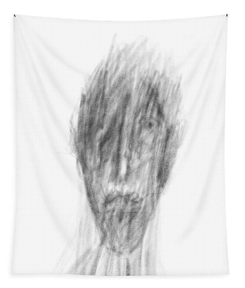 Apple Pencil Drawings Tapestry featuring the drawing Dark Side by Bill Owen