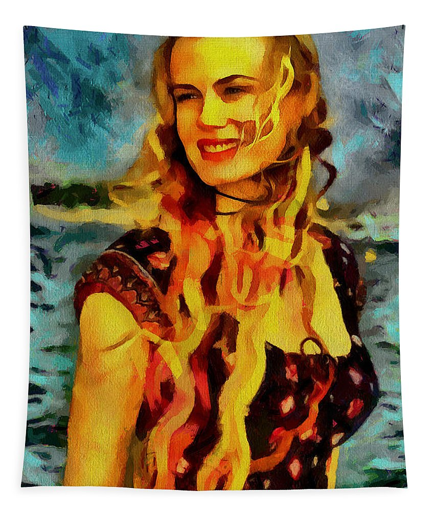Daryl Hannah Tapestry featuring the drawing Daryl Hannah Collection - 1 by Sergey Lukashin