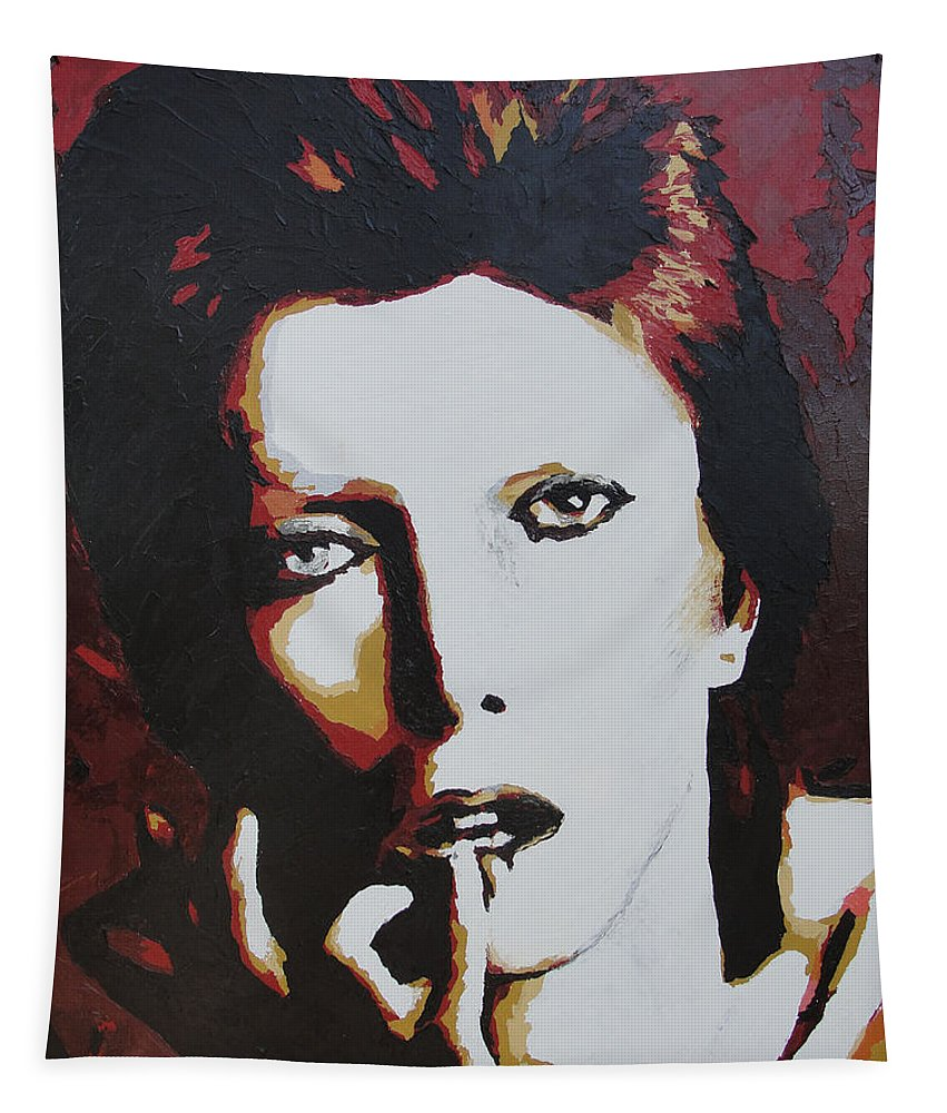 David Bowie Tapestry featuring the painting David Bowie by Ricklene Wren