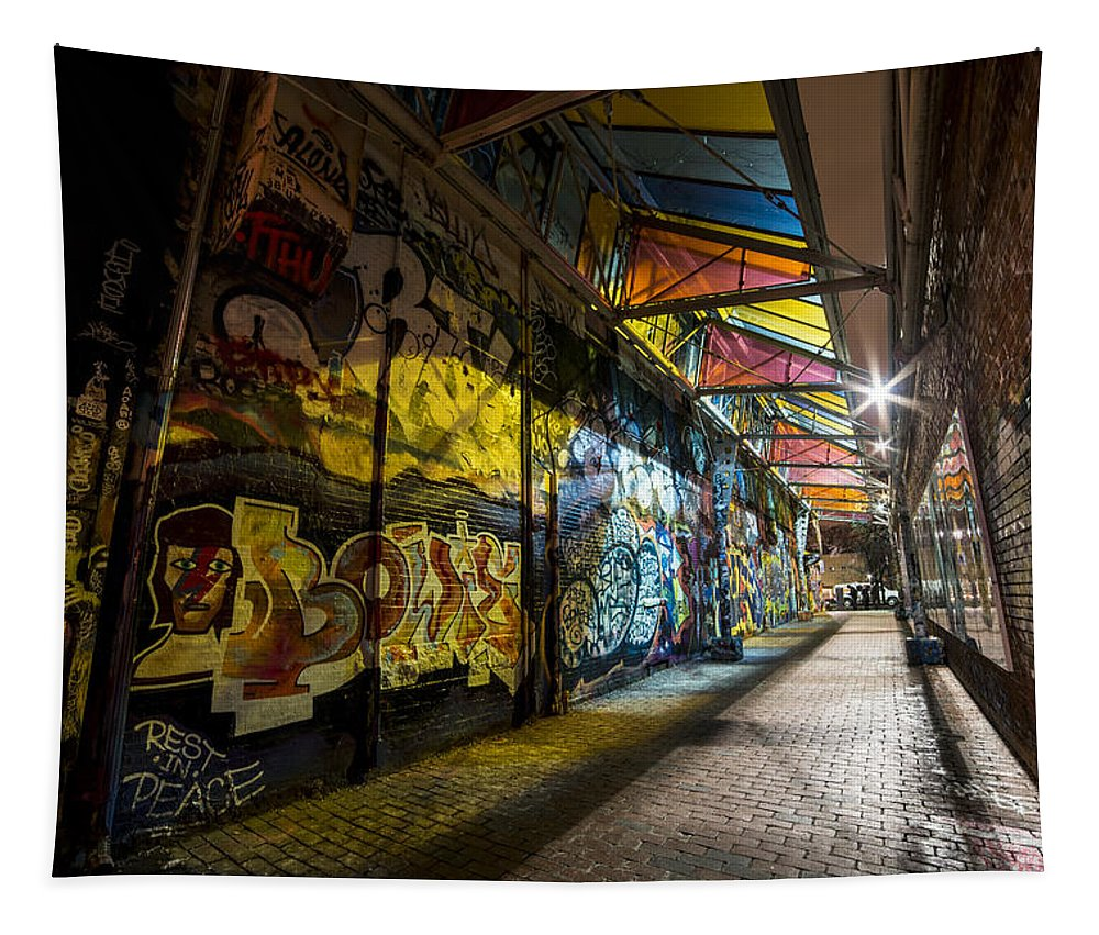 Cambridge Tapestry featuring the photograph David Bowie Tribute Central Square Cambridge Graffiti Down The Tunnel by Toby McGuire