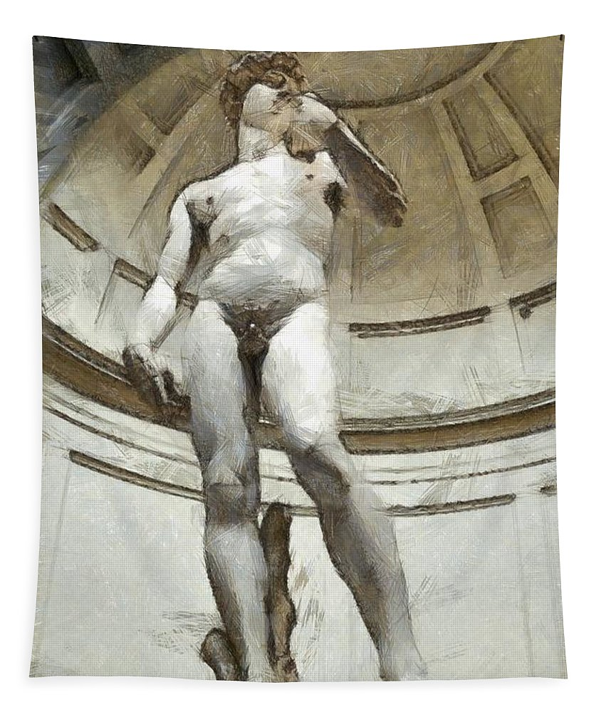 Florence Tapestry featuring the photograph David By Michelangelo Pencil by Edward Fielding