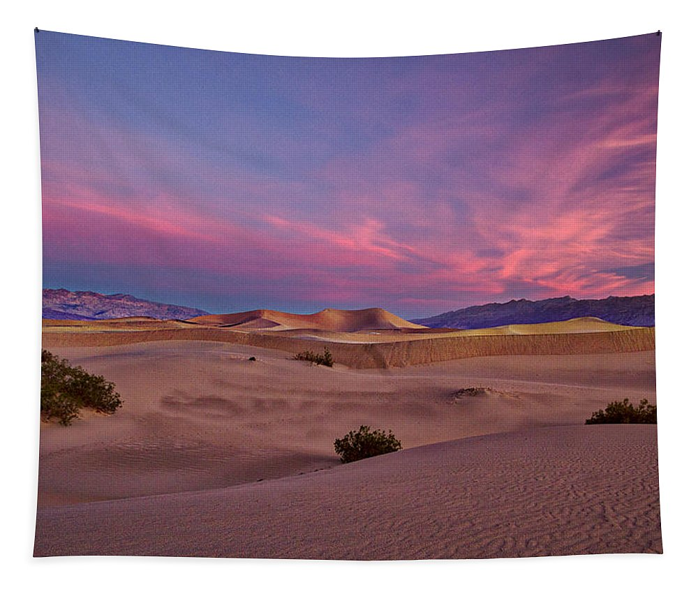California Tapestry featuring the photograph Dawn At Mesquite Flats #2 - Death Valley by Stuart Litoff