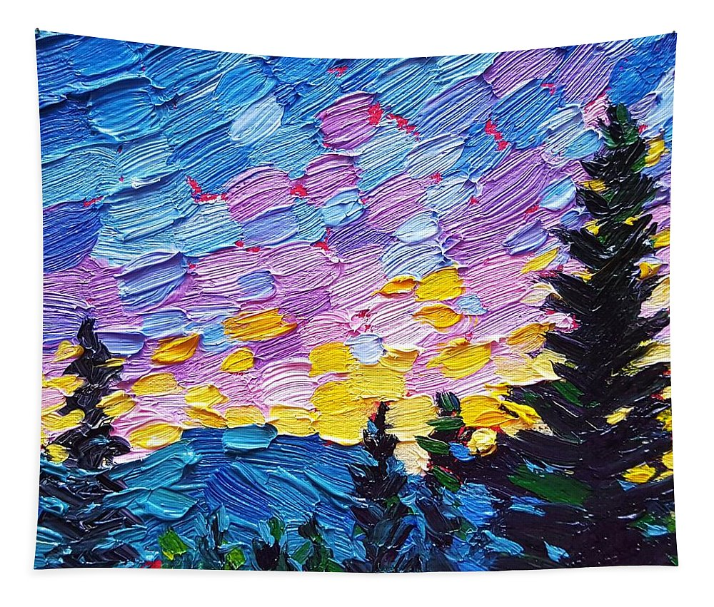 Nature Tapestry featuring the painting Dawn Behind The Mountains by Jessica T Hamilton