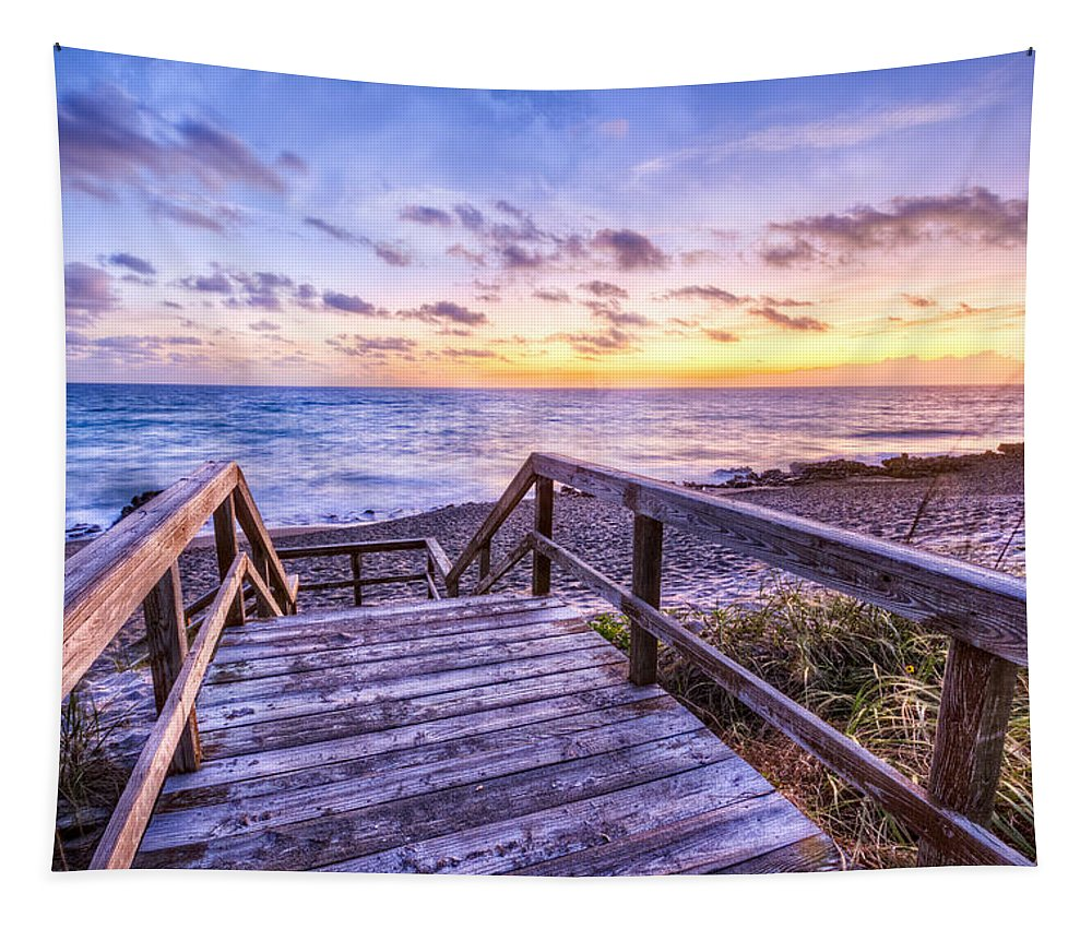 Boats Tapestry featuring the photograph Dawn Colors by Debra and Dave Vanderlaan