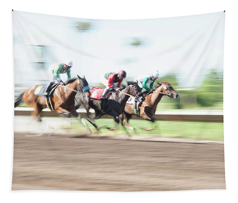 Horse Tapestry featuring the photograph Day At The Races by Alex Lapidus
