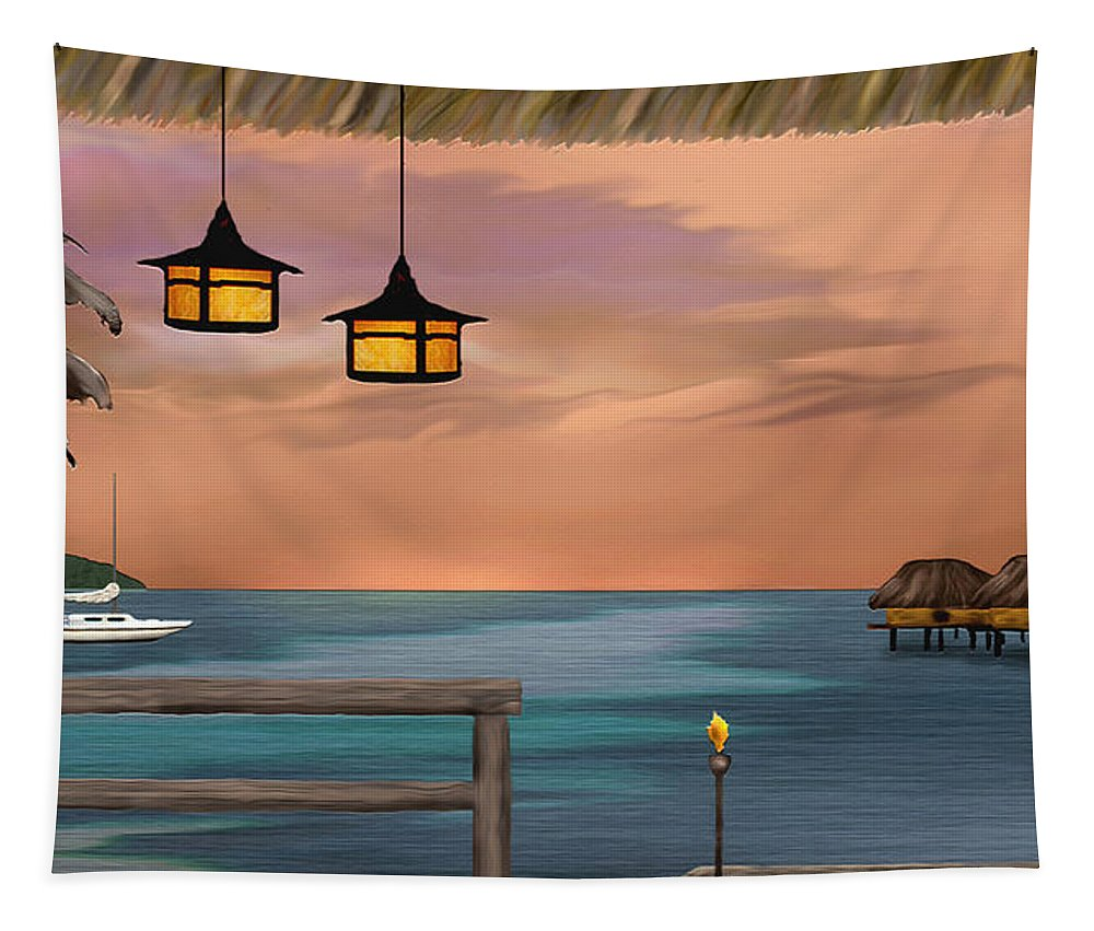 Contemporary Coastal Tapestry featuring the painting Days End by Gordon Beck