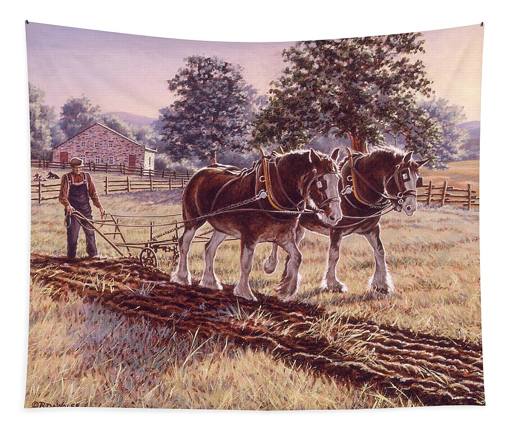 Horses Tapestry featuring the painting Days Of Gold by Richard De Wolfe