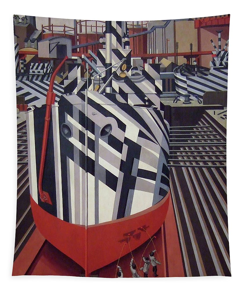 Painting Tapestry featuring the painting Dazzle Ships In Drydock At Liverpool by Edward Wadsworth
