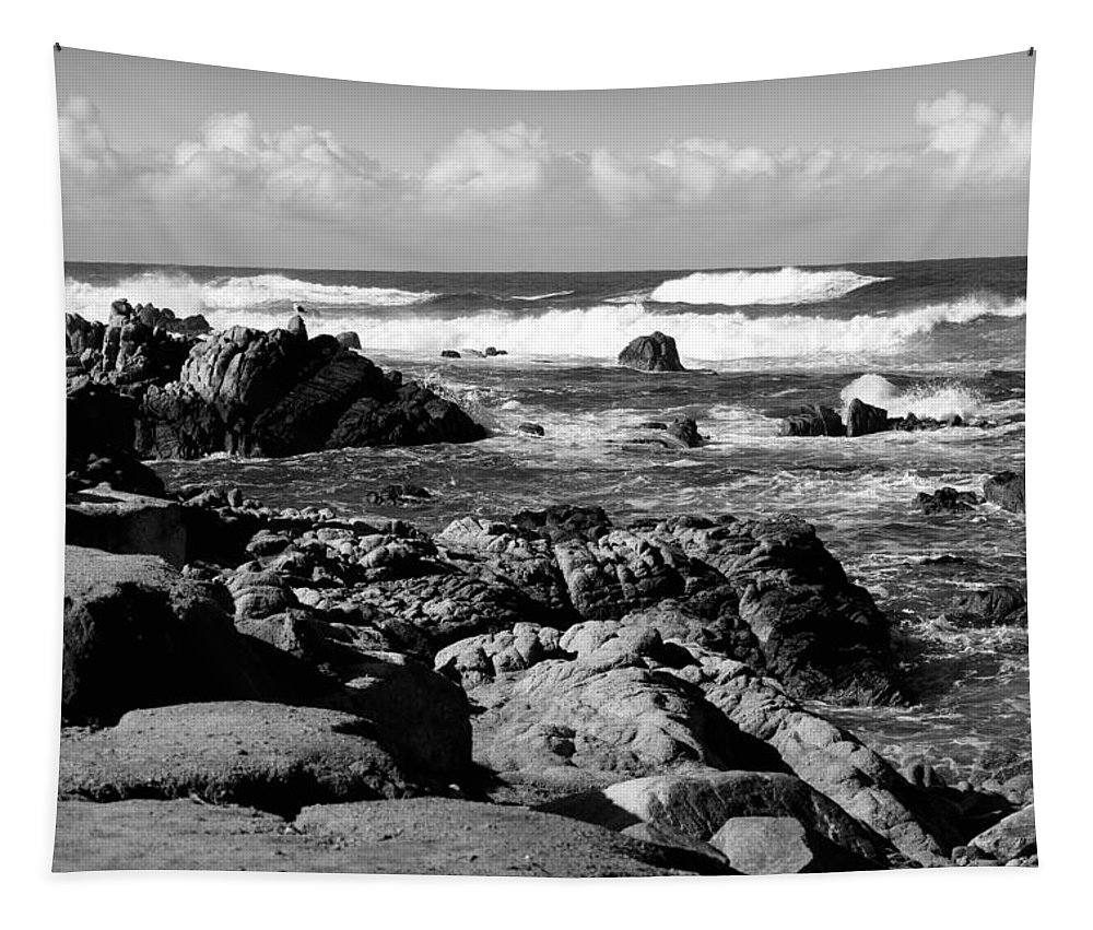 Black-and-white-photography Tapestry featuring the photograph Dazzling Monterey Bay B And W by Joyce Dickens