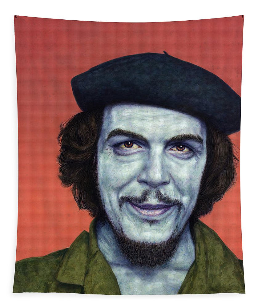 Che Tapestry featuring the painting Dead Red - Che by James W Johnson